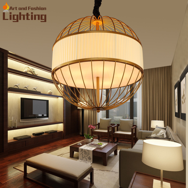 Iron And Linen Fabric Joint Lantern Pendant Lights Gold Color New Dining Room Living Lamp