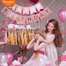 12 цветов счастливые Баннеры для дня рождения один год День Рождения украшения 100 дней Беби Шауэр Детский Мальчики Девочки вечерние DIY Decora