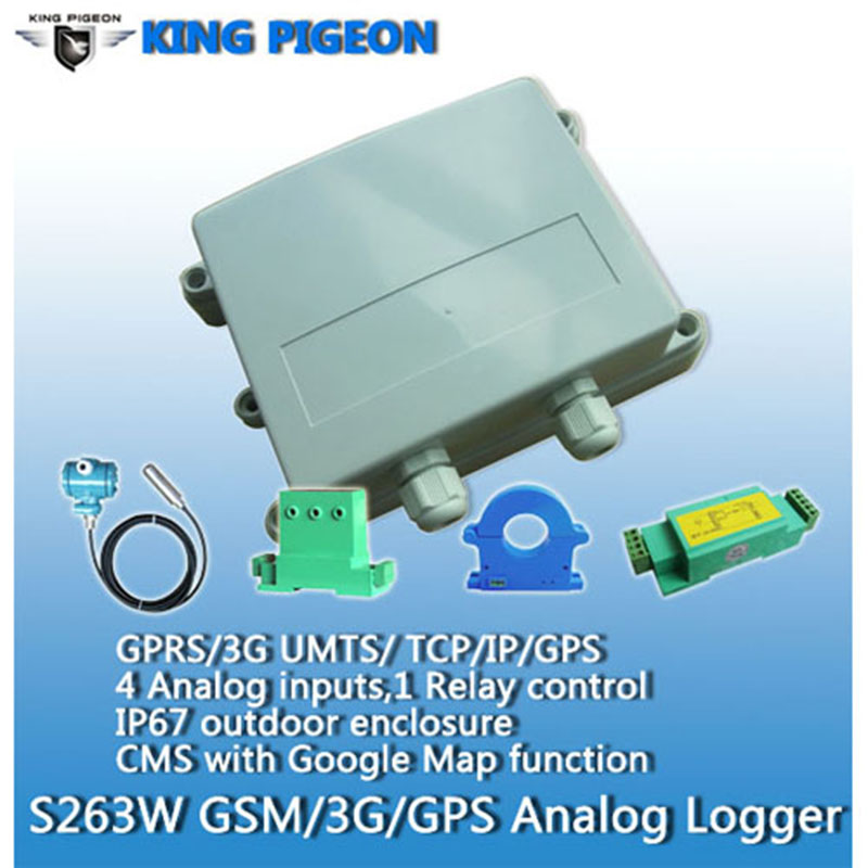 S263 KING PIGEON 3G Outdoor GPRS/GPS/SMS Analog Logger Temperature Date Logger Alarm Quad Band Relay Control Status Monitoring