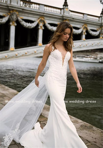 Image 2 - Deep V neck Bodice Double Layered Mermaid Wedding Dress With Detachable Train Illusion Tattoo Style Back Bridal Dress
