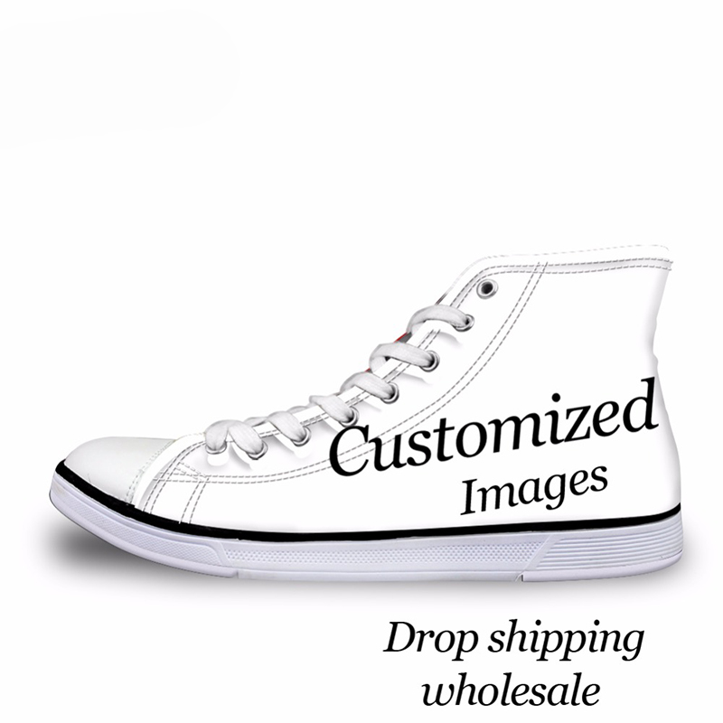 THIKIN Custom Images Or Logo Women High Top Canvas Shoes Classic Lace-up Vulcanized Shoes Students Girls Flat Shoes Sneaker