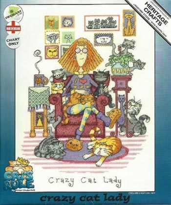 Handarbeiten, DIY Kreuz Stich, Sets Für Stickerei kits, 11CT & 14CT & 16CT & 18CT, crazy cat lady