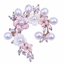 Daking exclusive design sparkling rhinestone wintersweet brooch freshwater pearl jewelry for wedding bridal brooch