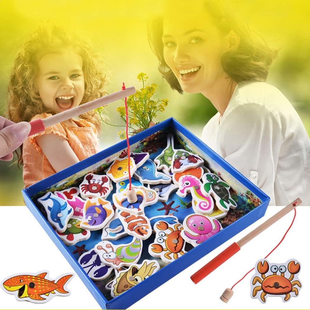 32Pcs/Kit Toys Brand New Kids Educational Fishing Toys For Children Baby Fish Wooden Baby Toy Fishing Set Game Gift