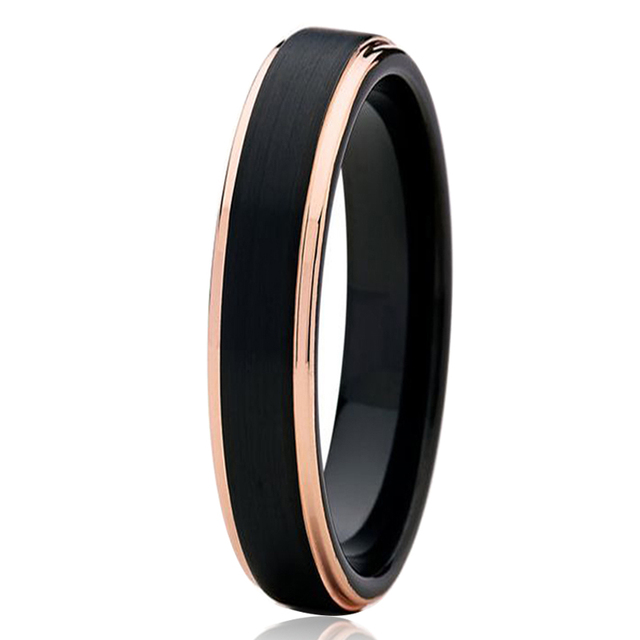4mm Womens Black Tungsten Carbide Wedding Band Rose Gold Color