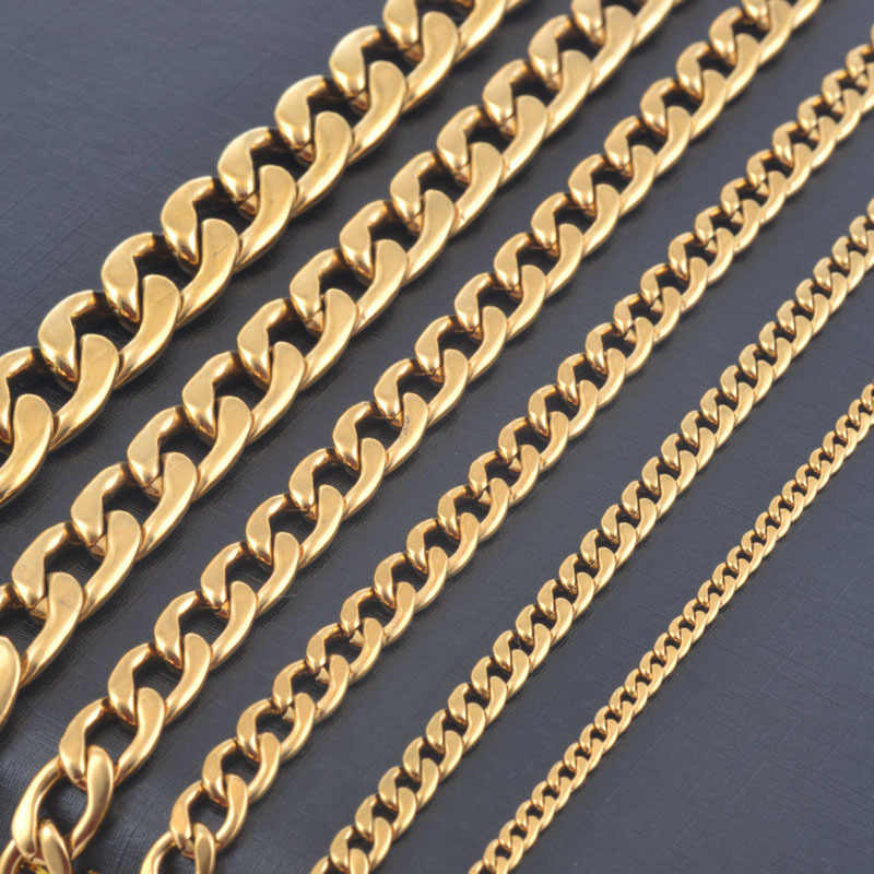 Width 3mm/4.5mm/6mm/7.5mm/9.5mm/11.5mm Stainless Steel Gold Color Chain High Quality Men Cuban Chain Necklace