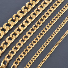 Width 3mm/4.5mm/6mm/7.5mm/9.5mm/11.5mm Stainless Steel Gold Color Chain High Quality Men Cuban Chain Necklace(China)
