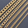 Width 3mm/4.5mm/6mm/7.5mm/9.5mm/11.5mm Stainless Steel Gold Chain High Quality Gold Plated Men Cuban Chain Necklace