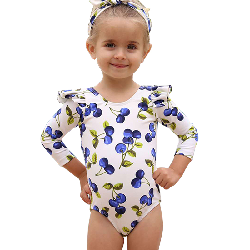 Long Sleeve Children Swimsuit One Piece Rash Guard For Baby Girl Lovely Bubble Sleeve Bathing Suit Little Girl UPF50+ Beach Wear(China)