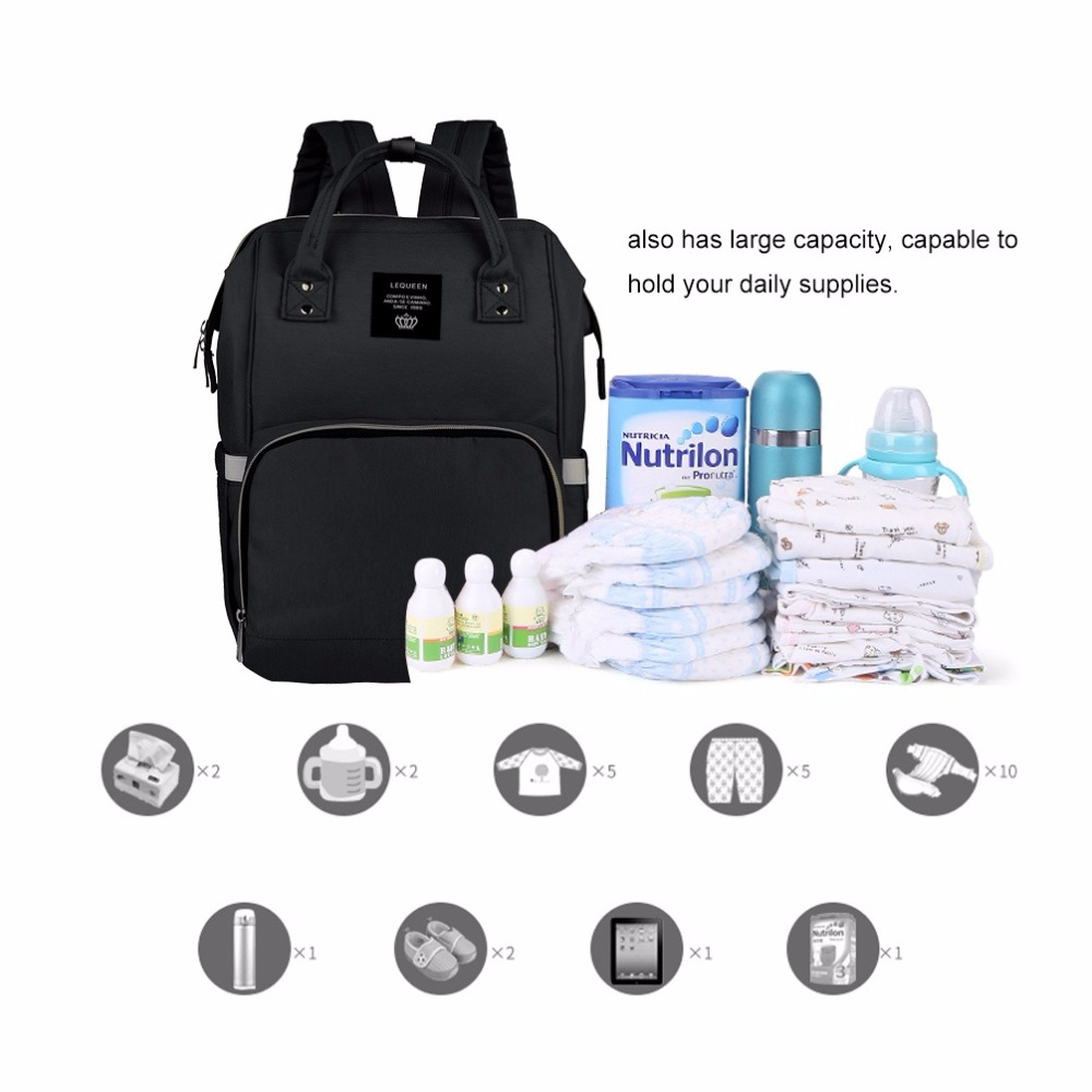Image 5 - Fashion Mummy Maternity Nappy Bag Large Capacity Baby Bag Travel Backpack Nursing Bag for Baby Care Nappy Hand Bag-in Diaper Bags from Mother & Kids
