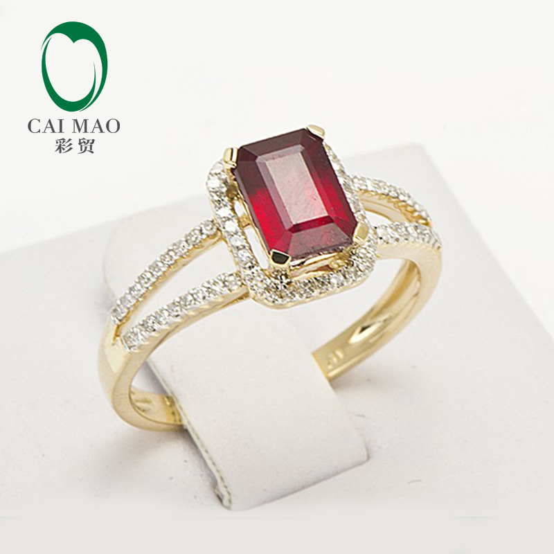 Free Shipping 1.45ct 14K Yellow Gold Red Ruby and Natural Diamond Ring Jewelry free shipping 1 48ct 14k yellow gold red ruby and natural diamond ring jewelry