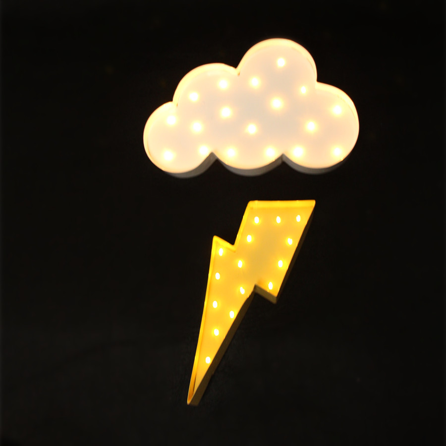 White Metal Cloud Lightning Ray Led Marquee Sign Light Up Vintage Night Light Wall Lamps Indoor on Vintage Marquee Lights Letters With E
