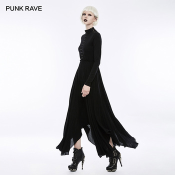Retro-Gothic Black High Neck Hollow-Out Long Dress