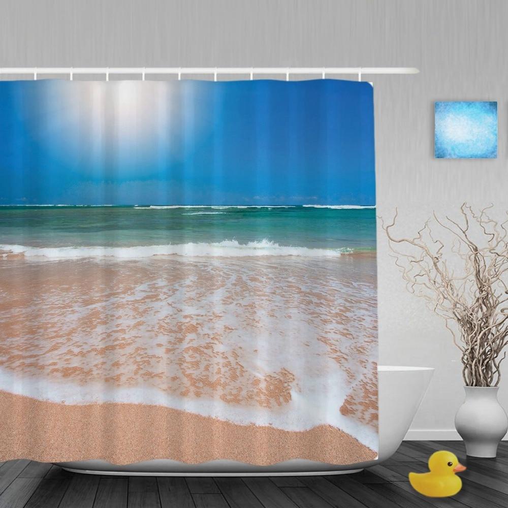 Ocean shower curtains - Beautiful Ocean Beach In Summer Bathroom Shower Curtain Blue Sky Decor Shower Curtain Waterproof Polyester Fabric