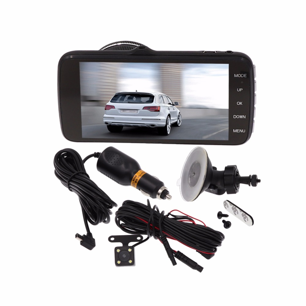 IPS screen Car DVR camera dash cam full HD 1080 p Parking monitoring 4.0 Inch Dual Lens Video Recorder Front+Rear Camcorder developing chinese intermediate speaking course 2 2nd ed with cd chinese edition new design