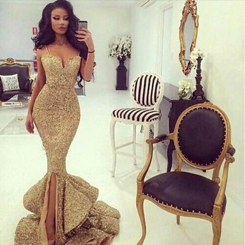 Doragrace Charming Spaghetti Strapls Ruffles Mermaid Evening Gowns Sequins Dresses