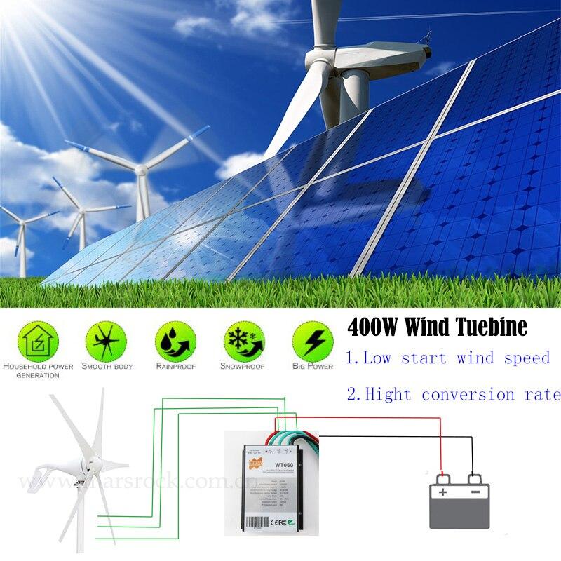 Livraison gratuite de russie espagne royaume-uni, 400W 12V ou 24Vdc éolienne générateur petit moulin à vent 0-600W contrôleur de charge comme cadeau - 2