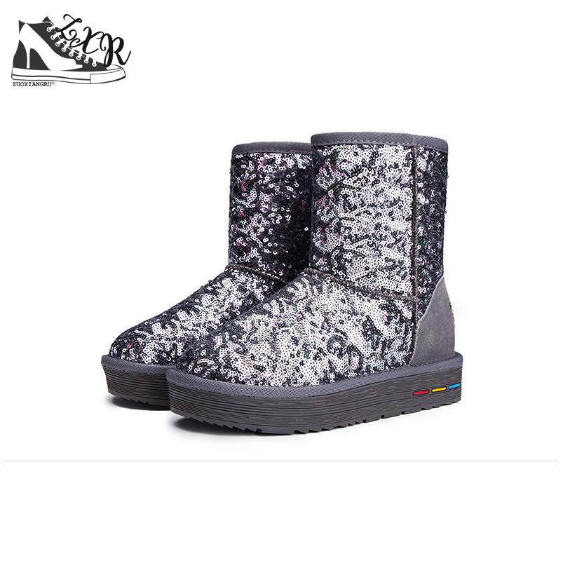 Bling Winter Anti-skid Snow Boots Sequins Classic Women Short Boots Fashion Thick Cotton Classic Warm Shoes Female Ankle Boots 2017 thickened graffiti zippers women short snow boots female cotton winter shoes fashion design warm flock page 2