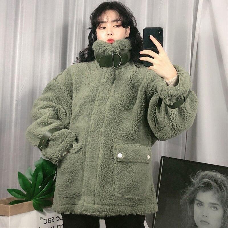 Manches D'hiver Lâche Beige Hiver Harajuku Casual Fourrure Veste Manteau Longues D'agneau army Femmes Plus Green Taille kaki Chaud Femelle La Épaisse 5qZXwt