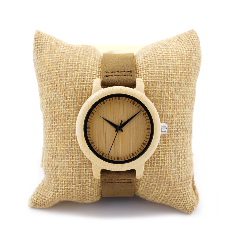 Prix pour Unique Vogue Femmes Bambou En Bois Montre À Quartz Sport En Plein Air Montres Horloge Avec Bracelet En Cuir Montre Femme