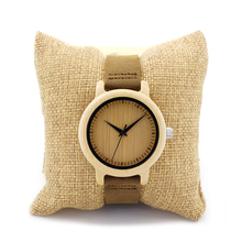 Unique Vogue Womens Bamboo Wooden Watch Quartz Outdoor Sport Watches Clock With Leather Strap Montre Femme