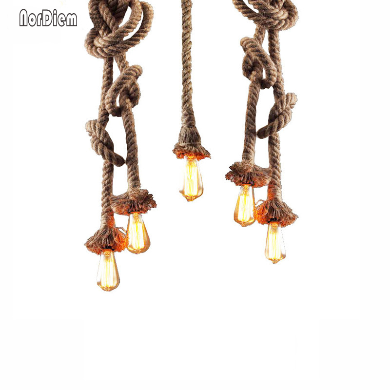 Retro Single/Double Heads Rope Pendant Lights Loft Vintage Hand Knitted Hemp Rope Lamp Restaurant Bedroom Shop Pendant Lamp
