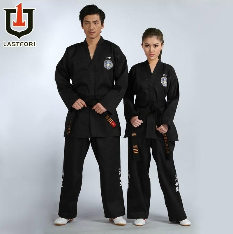 Envío gratis Negro bordado completo itf tae kwon do ropa hermosa itf uniforme de taekwondo