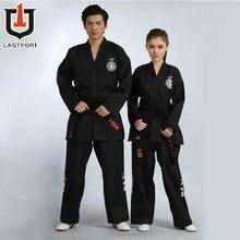 Бесплатная доставка черный полный вышивка ITF таэквондо красивая одежда Тхэквондо ITF Униформа
