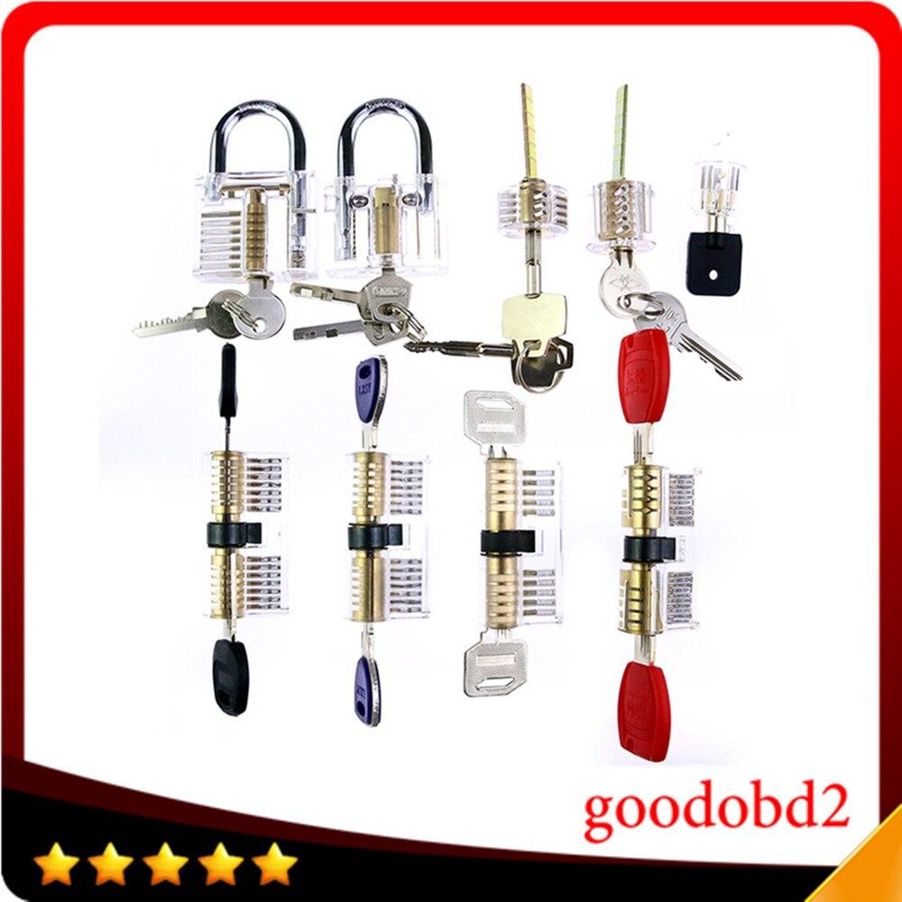 Высокое качество отмычку набор 9pcs/комплект прозрачный практика замки замок padlock железнодорожного инструменты Слесарь поставки