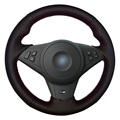 Black Artificial Leather Car Steering Wheel Cover for BMW E60 E63 E64 M5 2007 2008