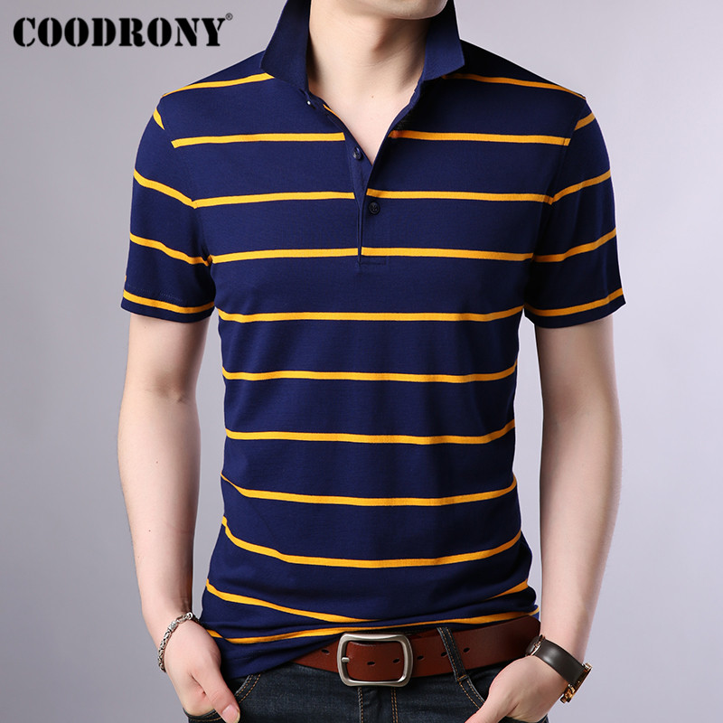 COODRONY Brand Business Casual T Shirt Men Striped Short Sleeve T-Shirt 2019 Spring Summer New Arrival Mens T-Shirts S95032