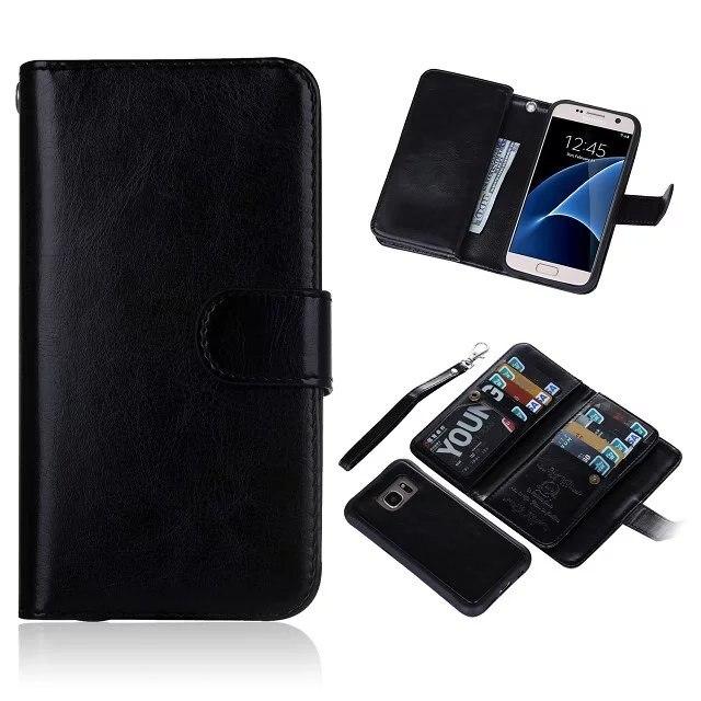 BRG 2 In 1 Abnehmbare Magnetische Pu-lederne Mappe Fall für Samsung Galaxy S7 Rand S6 Edg Plus Gebaut in 9 Karten Geldbeutel-beutel taschen