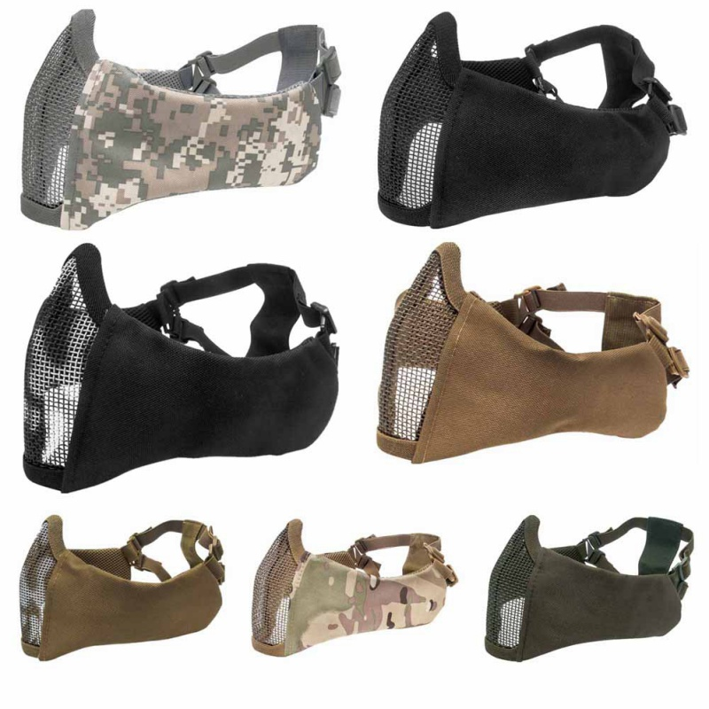 Men\'s Summer Multi-function Tactical Airsoft Military Fan Accessories Half Face Grid Military Game Mask