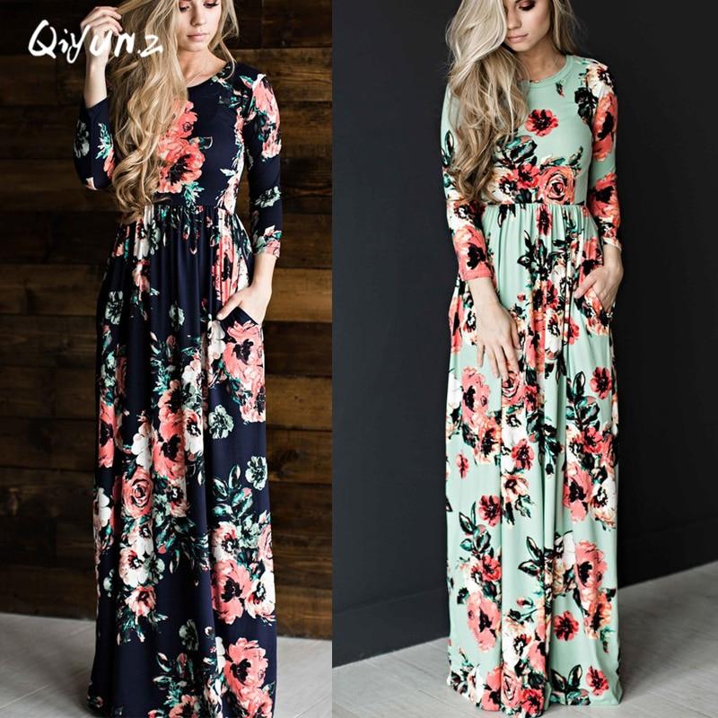 QIYUNZ 2017 Summer Boho Beach Dress Fashion Floral Printed Women Long Dress Three Quarter