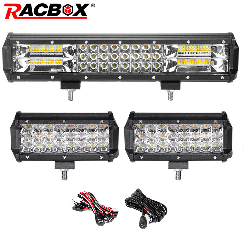 Dual Color 3-row 15inch 216W LED Light Bar Offroad Led Bar Combo Beam+2x72W Spot Led Work Lights Truck SUV ATV 4x4 4WD 12v 24v pack 4 white red blue green amber dual color strobeflash led work light bar 3x3 cube pods offroad spot flood beam offroad atv