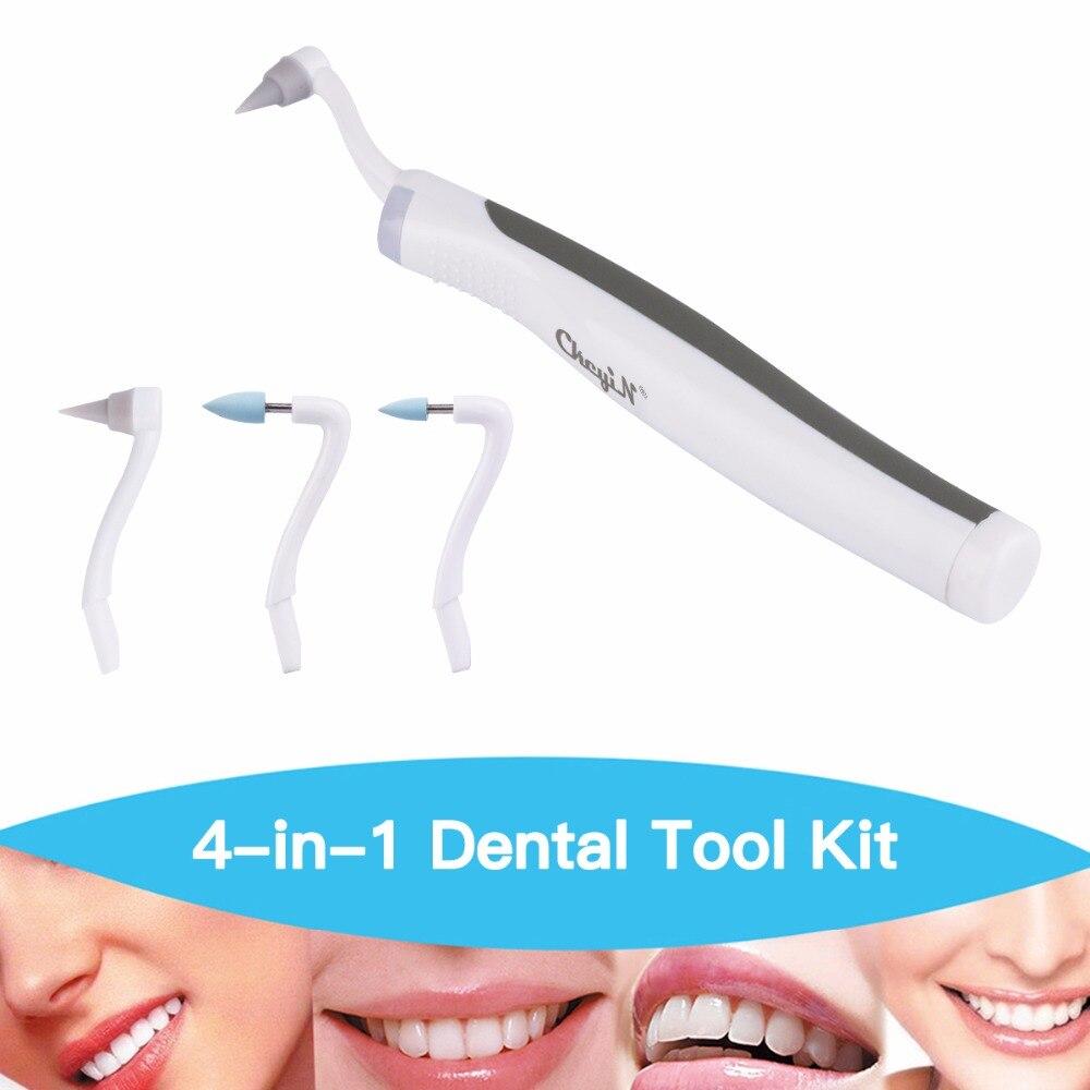 CkeyiN Multifunções Sônico LEVOU Kit Ferramenta Dental Higiene Oral Care & Tooth Stain Eraser & Removedor de Placa + 4 Pcs Moagem Cabeças S46