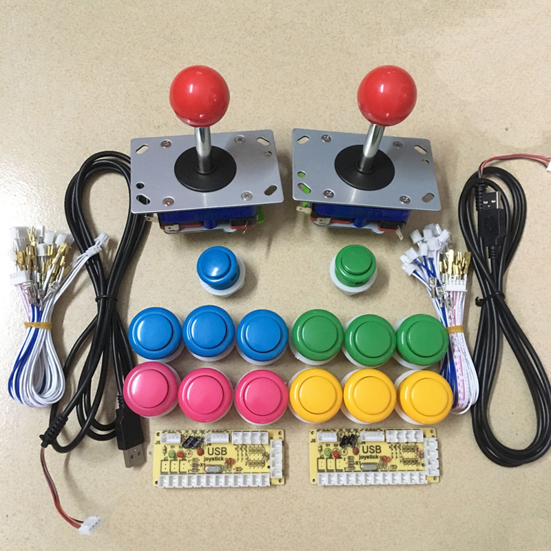 Arcade game DIY KIT for JAMMA MAME: 2 Zero delay USB encoder & 2 Zippy style joystick & 12 28MM push button & 2 24MM push button
