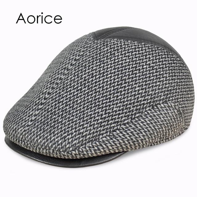 6dd6dc67e27 Pudi gentleman baseball cap hat winter warm Russian old men beret newsboy  ear Flap caps hats