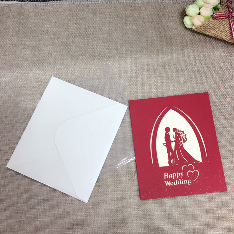 1pcs Sample 3D Laser Cut Paper Greeting Pop Up Kirigami Card Bride and Groom Wedding Invitation Valentine's Day Postcards Gifts (3)