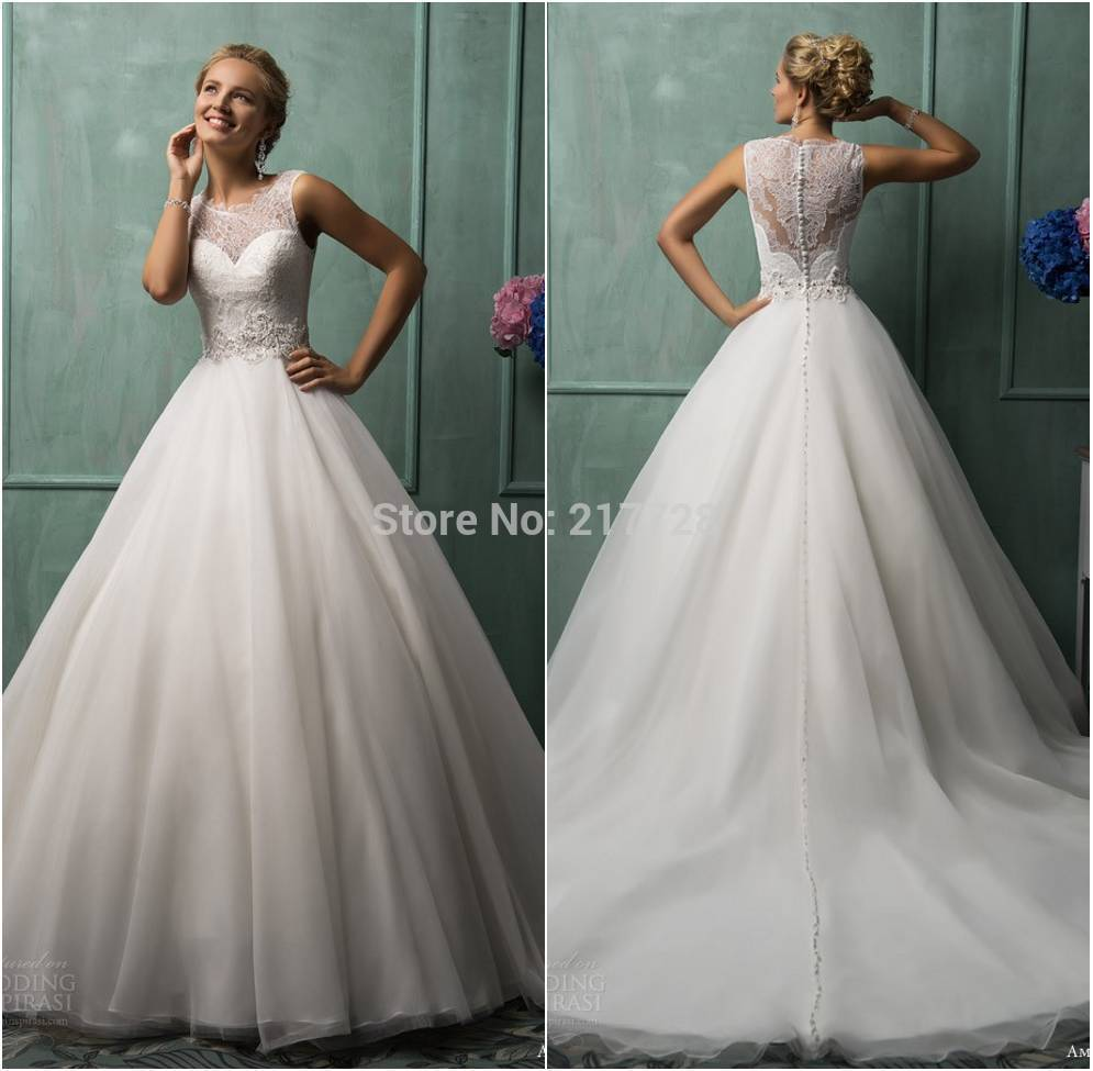 Hot High Quality Western Neck Cap Sleeve Princess Wedding Dresses Y 2017 Back Sheer See Through Bridal Gowns Custom In From