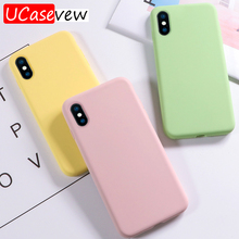 Fashion silicone Phone Case For iPhone X XR XS Max 7 8 Plus 6 6s Original Liquid Silicone Cover Plain Candy Color