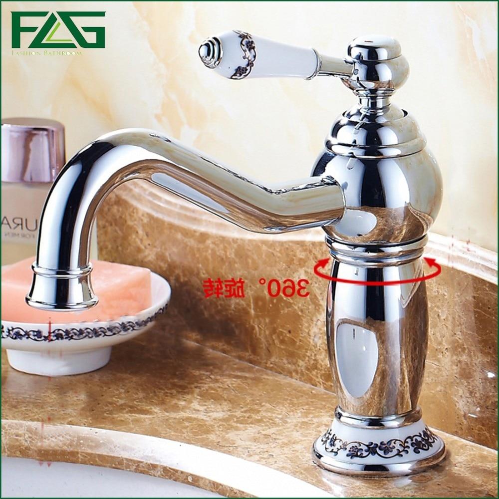 FLG Basin Faucet Chrome Faucet Ceramic White Painted Flower Porcelain Long Spout 360 Degree Swivel Bathroom Faucet Mixer M050 purple ceramic counter basin white art basin white wash basin quality personalized multicolour basin