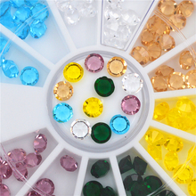 6 colors 3D Round AB Rhinestone Crystal Glitter Bead Pearl Wheel Nail Art Tips Jewelry Decoration DIY Manicure Accessories Tools