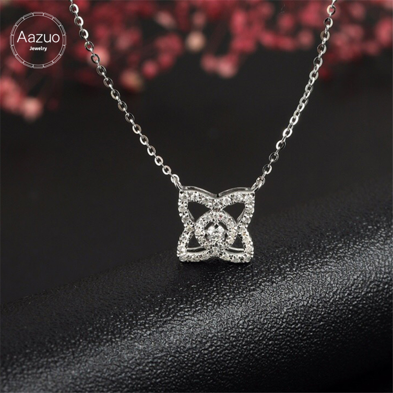 Aazuo Real Diamonds 100 18K White Gold Lovely Four Leaf Free Pendent Necklace gifted for Women