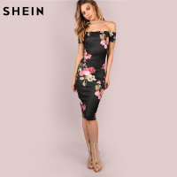 SheIn Sexy Party Dresses Bodycon Off Shoulder Dress Black Bardot Neckline Floral Bodycon Knee Length Elegant