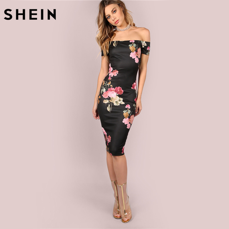 202a889c66 SHEIN Sexy Party Dresses Bodycon Off Shoulder Dress Black Bardot Neckline Floral  Bodycon Knee Length Elegant Dress-in Dresses from Women s Clothing on ...