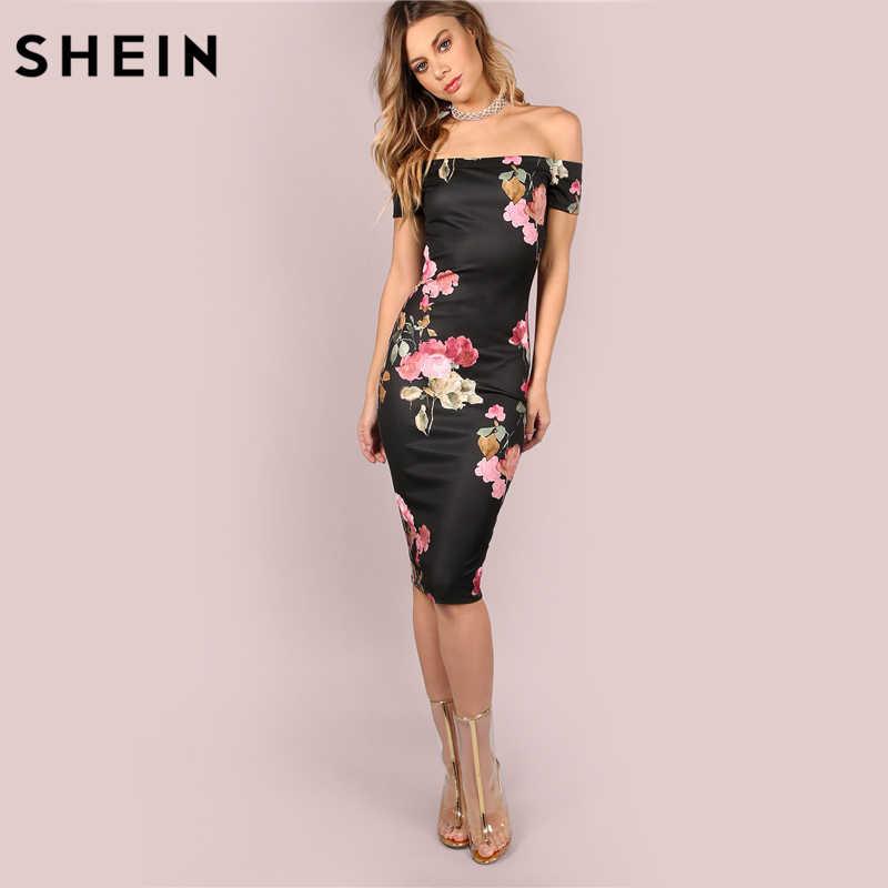SHEIN Чёрное Модное Миди Платье С Цветочным Принтом И Открытыми Плечами Женское Летнее Элегантное Платье