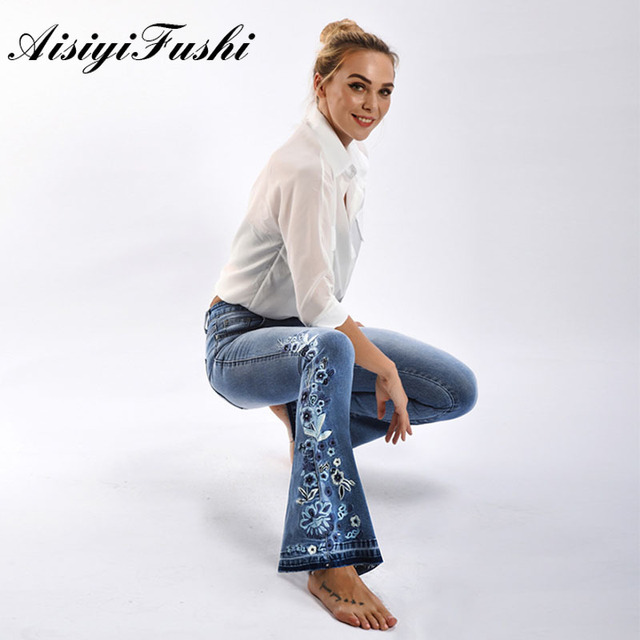 AISIYIFUSHI American Blue Women Bell Bottom Jeans Embroider Floral Push Up Denim Pants for Women Jeans Boot Cut Flared Jeans 4XL
