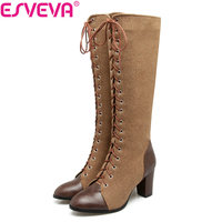 ESVEVA 2018 Square High Heel Western Women Boots Mixed Color Ladies Knee High Boots Lace Up