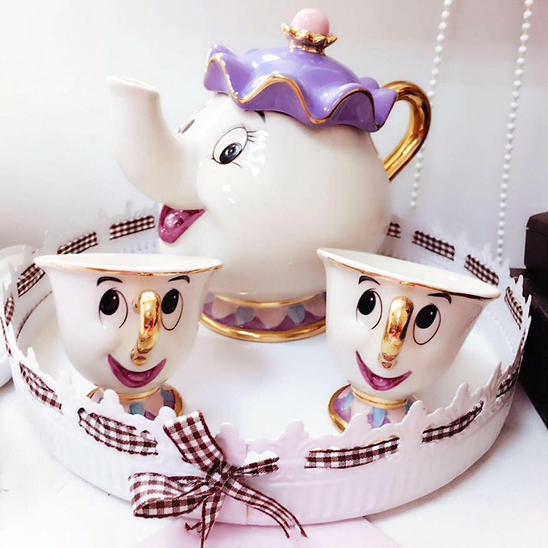 Cute Cartoon Beauty And The Beast Coffee Tea Set Mug Mrs Potts Chip Tea Cup One Set [1pot +2cups] for Friend Gift